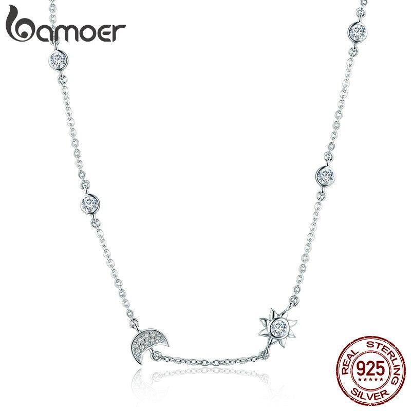 BAMOER 100% 925 Sterling Silber Funkelnden Mond und Stern Exquisite Anhänger Halsketten für Frauen 925 Silber Schmuck Geschenk SCN272