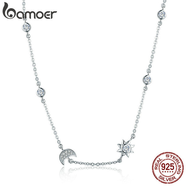 BAMOER 100% 925 Sterling Silver Sparkling Moon and Star Exquisite Pendant Neckla
