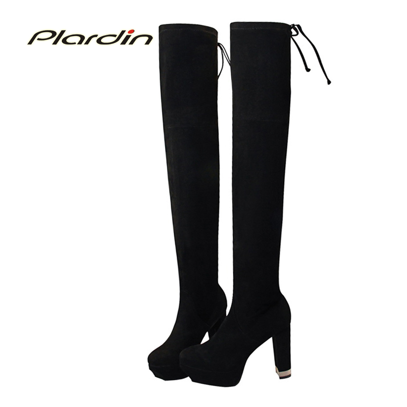 plardin New Winter Women Leisure Fashion Zip Butterfly-knot Lace-Up Pointed Toe riding Shoes Woman over the knee Boots Suede fashion pointed toe lace up mens shoes western cowboy boots big yards 46 metal decoration