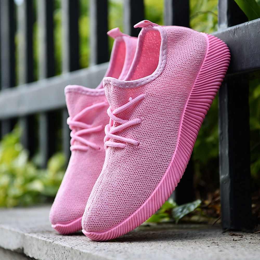 LZJ 2019 Katı Nefes Sığ Ağzı Kadın Ayakkabı Muhtasar Klasik Uçan Dokuma Şeker Renk Öğrenci Net Ayakkabı Chaussures Femme