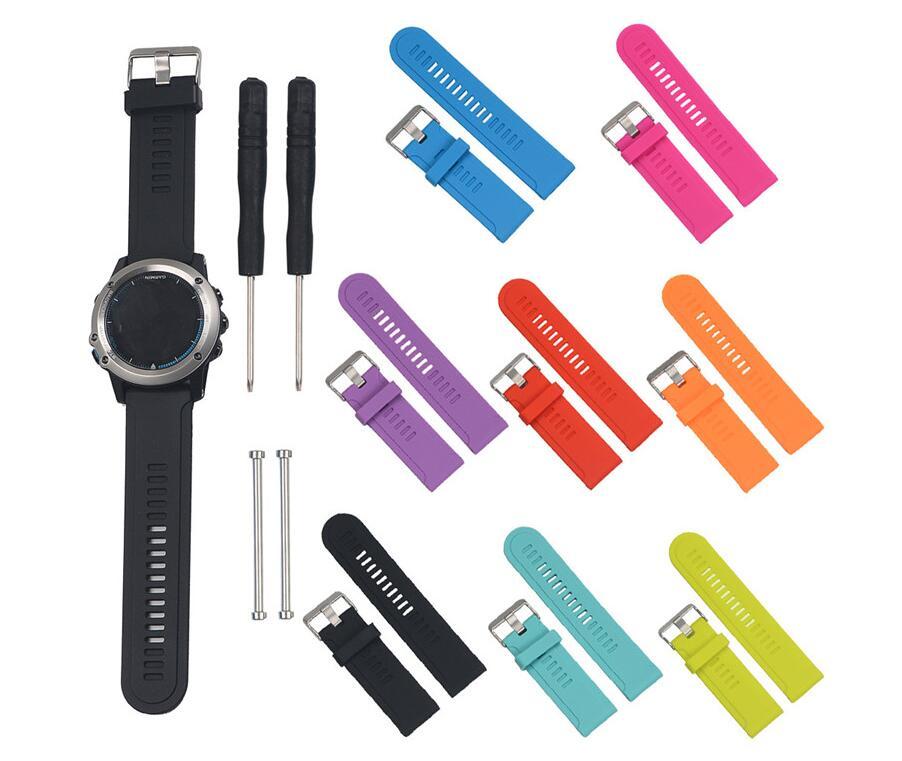 100 pièces Sport Silicone bracelet bracelet de montre bande de remplacement pour Garmin Fenix 3 HR D2/Fenix 2 Quatix 3/Tactix bracelet de montre-in Accessoires connectés from Electronique    1