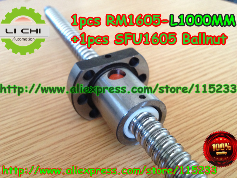 Best Price 1pcs Ball screw SFU1605 - L1000mm+ 1pcs RM1605 Ballscrew Ballnut for CNC and BK/BF12 standard processing sfu3210 ball screw l1000mm ballscrew 1pcs single ballnut