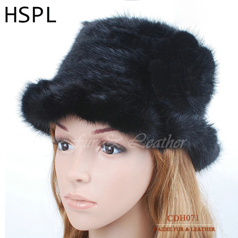 HSPL Guarantee100% Genuine Mink Fur Knitted Hat With flower decorate and wave cut side