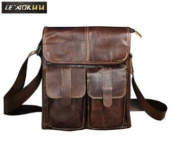 本革男性デザイナーのショルダーメッセンジャーバッグファッションカレッジクロスボディバッグ 10