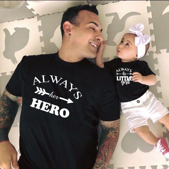 Always Her Hero & Always His Little Girl Lovely T Shirt Dad & Daughter Matching Shirt Kids & Men's Short Sleeve Tee Outfits
