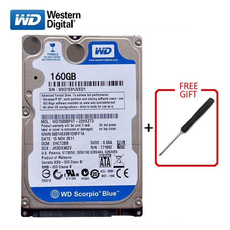 "WD Brand 160Gb HDD 2.5"" SATA Internal Hard Drive 3Gb-6Gb/s HD Hard Drive 5400-7200RPM Blue hard disk for Laptop Free shipping"