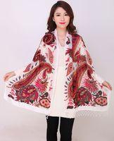White Chinese Female Velvet Silk Beaded Shawls Vintage Handmade Embroidery Scarves Scarf Long Fringe Muffler Peacock Pattern