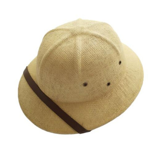 Image 3 - 2019 Unisex Novelty Toquilla Straw Sun Hats for Men Vietnam War Army Hat  Helmet Pith Dad Boater Bucket Hats Summer