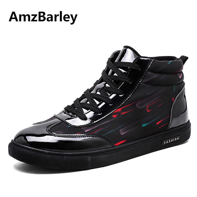 AmzBarley Men Shoes Footwear Shoe Printed Patchwork High Top Lace Up Casual Trainers Male Hip Hop Zapatillas Deportivas Hombre 2017 new arrival spring men casual shoes mens trainers breathable mesh shoes male hombre hip hop street shoes high quality