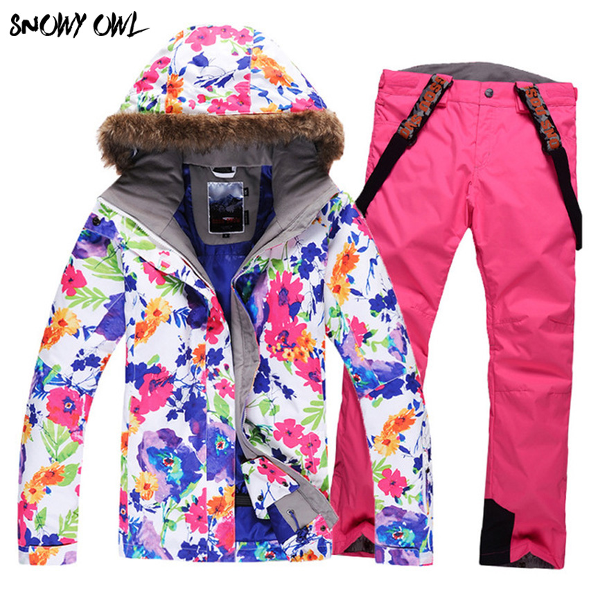Free Shipping Brand New Women's Snow Sets Windproof Waterproof Snow Suit Warm Set Sportswear Snowboard Female Set Z