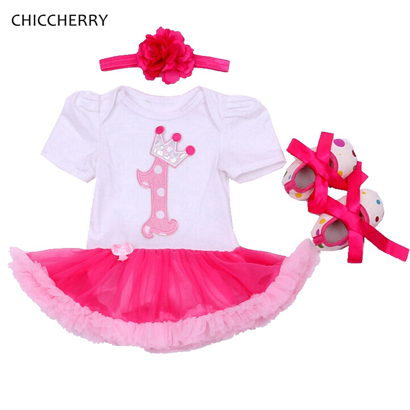 Cute 1 Year Birthday Dresses Infant Lace Tutu Headband Set Baby Girl Romper Dress Vestido Bebe Menina Toddler Girls Clothes