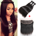 10A Virgin Brazilian Straight Hair with Closure Ear to Ear Pre Plucked Lace Frontal Closure With Bundles Brazilian Virgin Hair