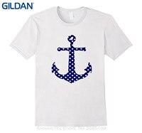 GILDAN Cotton Tee Shirts For Men Navy Blue Preppy Polka Dot Anchor Sailer Beach Shirt