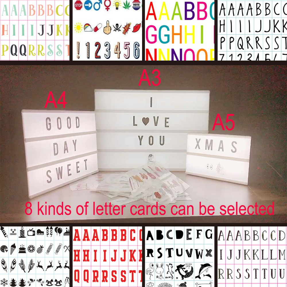 DIY Combination LED Night Light Box Night Table Lamp A3 A4 A5 Letter Cards Lamp Led Nightlight Cinema Lightbox as Gif IY303206-1 diy cinematic lightbox led night light box modern table desk lamp a4 size letters number battery usb powered home decor iy303206 page 5