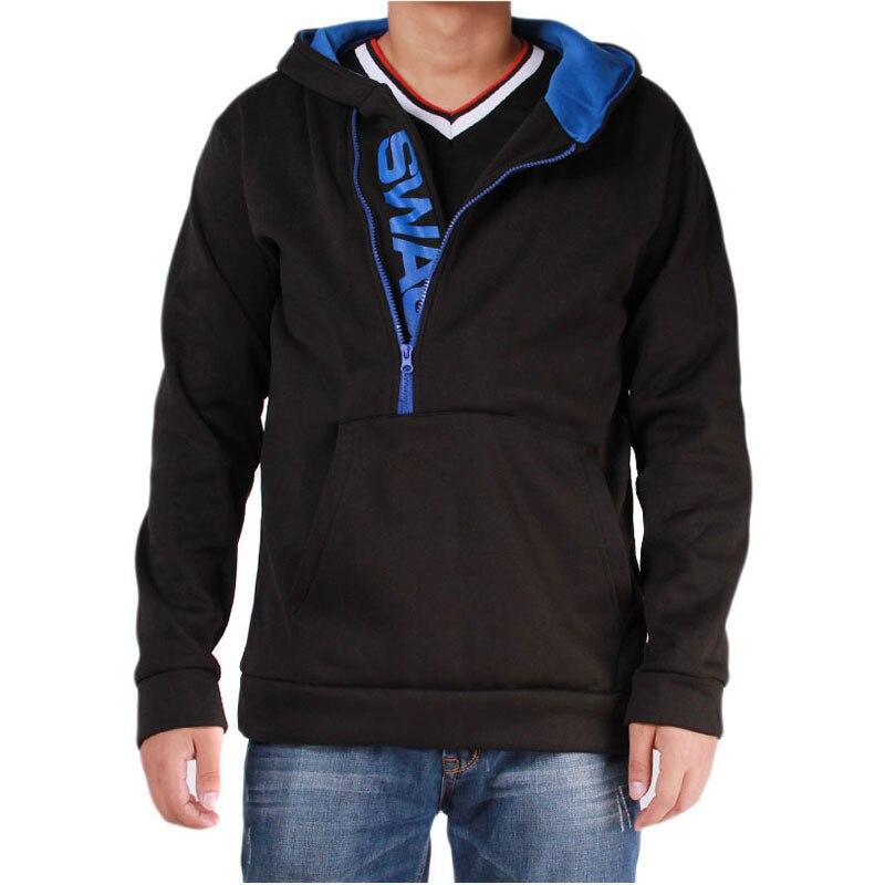 Мужские футбольные майки на молнии с буквенным принтом, мужская верхняя одежда на осень и зиму, мужская спортивная одежда, толстовки для фитнеса, верхняя одежда 4XL - Цвет: Black Blue