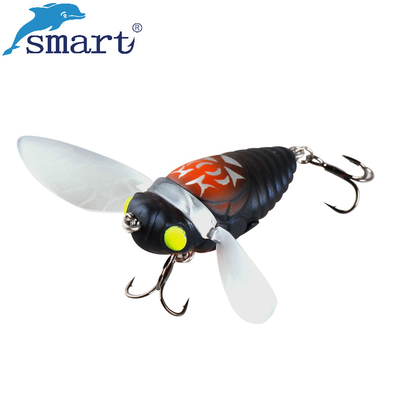 Smart Cicada Fishing Lure 4cm 6.1g 3D Eyes Lifelike Top Water Bait VMC Hook Isca Artificial Pesca Leurre Peche Vissen Fly Tying 1pcs 6cm 4 5g top water fishing lure