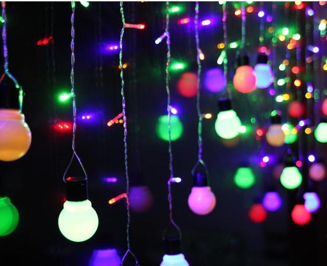 Tamaño grande de La Novedad lámparas de iluminación Al Aire Libre 5 m 5 cm cadena de la Bola LED de hadas de la boda jardín colgante garland RGB