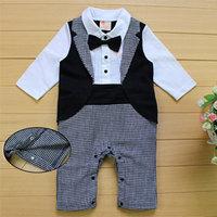 Newborn Baby Boys Rompers Cotton Gentleman Suit Bow Tie Leisure Body Clothing Toddler Jumpsuit FJ88