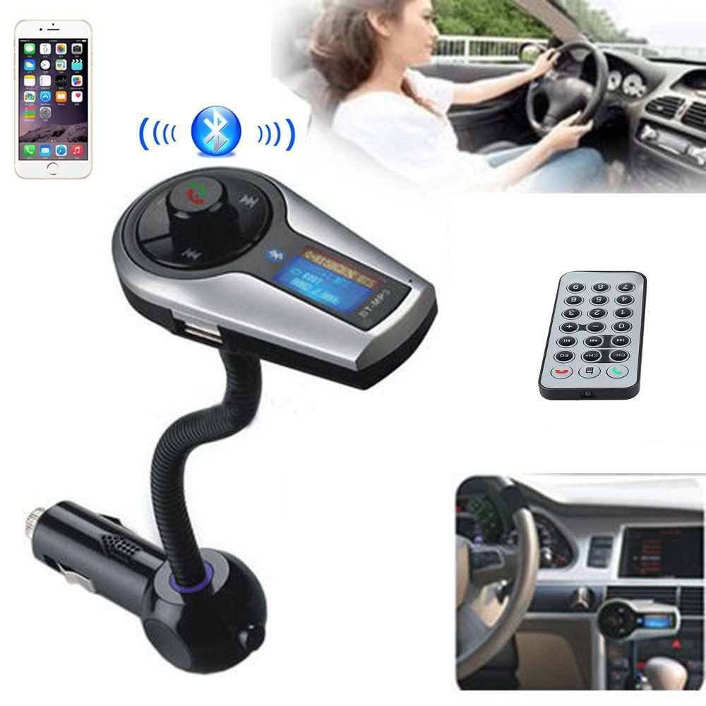 Bluetooth Handsfree wireless FM Transmitter <font><b>Car</b></font> Kit MP3 Music Player Radio <font><b>Jammer</b></font> with <font><b>Remote</b></font> For iPhone Samsung LG Smartphones image