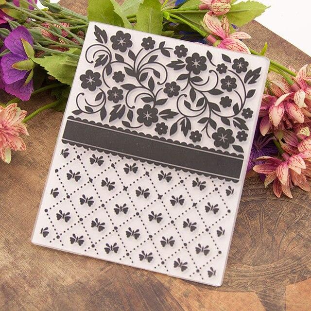 Floral Embossing Folder for Card Making Floral DIY Plastic Scrapbooking Photo Album Card Paper DIY Craft Decoration Template