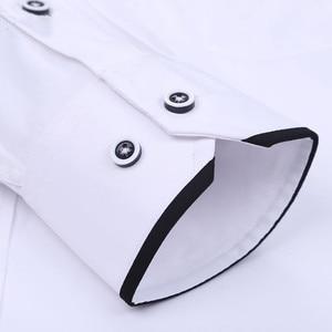 Image 5 - Camisas de vestir cómodas y suaves para hombre, camisas de manga larga entalladas con cuello levantado, camisas de esmoquin para fiesta y boda