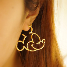 2017 New Fashion Cute Childlike Alloy Mickey Donald Minnie Statement Hoop Earrings For Women Cartoon Earrings