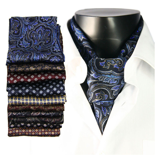 100% Silk Satin Long Scarf For Men 26X160cm New Desigual Classic Printed Pattern High Quality Businessmen Scarf Wholesale