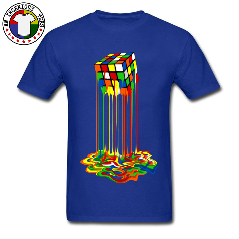 Rainbow Abstraction melted rubix cube Tops Tees Brand New O Neck Casual Short Sleeve Pure Cotton Young T-Shirt Gift Tops & Tees Rainbow Abstraction melted rubix cube blue