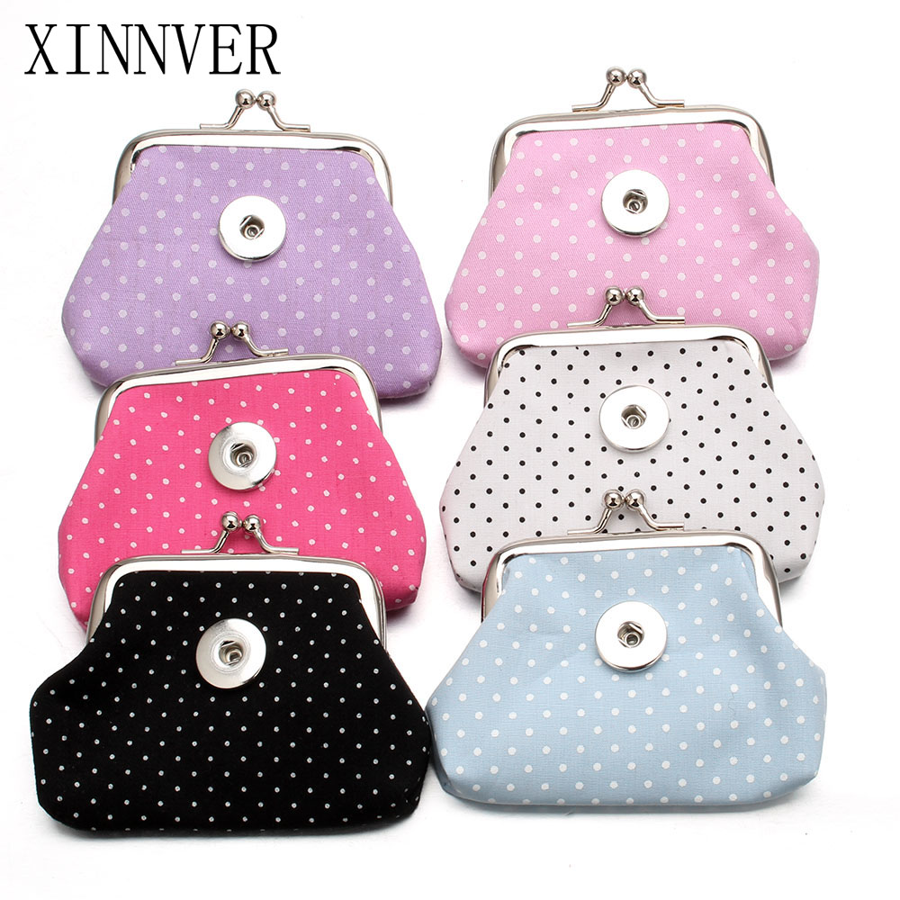 Nye 6 farger 18MM Snap Buttons Smykker Spot Coin Purses Små lommebøker Pouch Kids Girl Women's Money Vesker For Gift ZN018