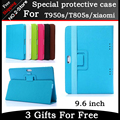 Classic fashion PU leather stand cover case for T950s/T805s/xiaomi 9.6 inch tablet pc Colorful color have in stock Freeshipping