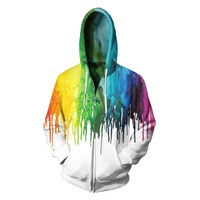 Women/Men Sport Hoodie Sweatshirts Rainbow Paint Print 3D Fleece Zipper Jacket Sportwear Oversize Running Pullover Cycling Hoody
