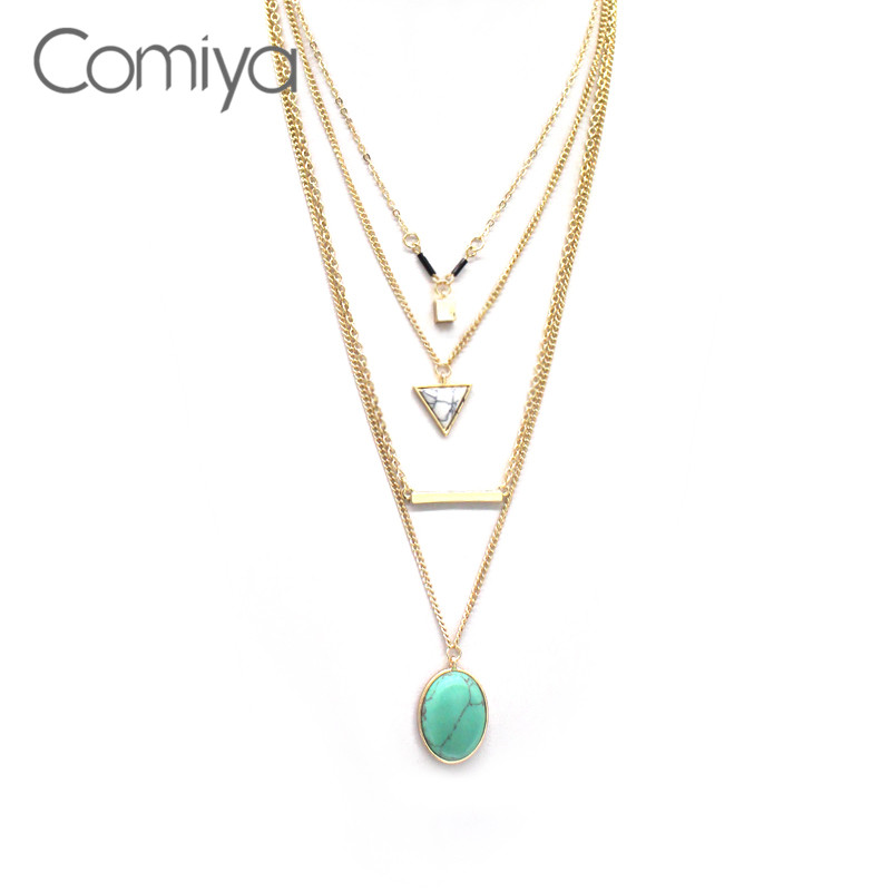 Comiya Aliexpress Brand Blue Marbled Stone Pendant Necklaces For Women Multi Layer Necklace Gold Accessories Bijoux Femme