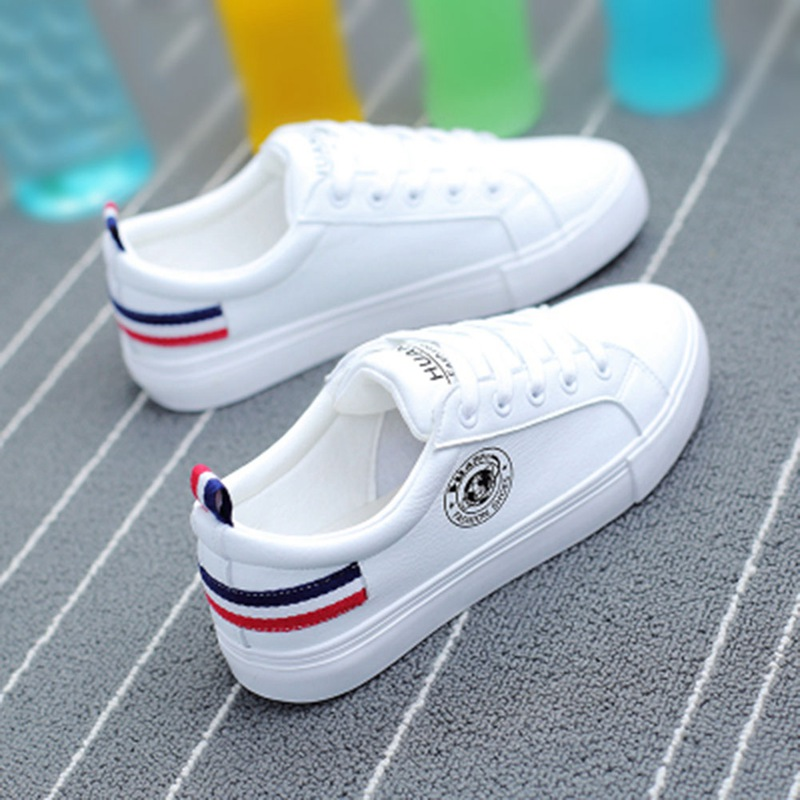 Women Shoes New Fashion Casual Platform Striped PU Leather Classic Cotton Women Casual Lace-up White Winter Shoes Sneakers striped grommet lace up dropped shoulder top