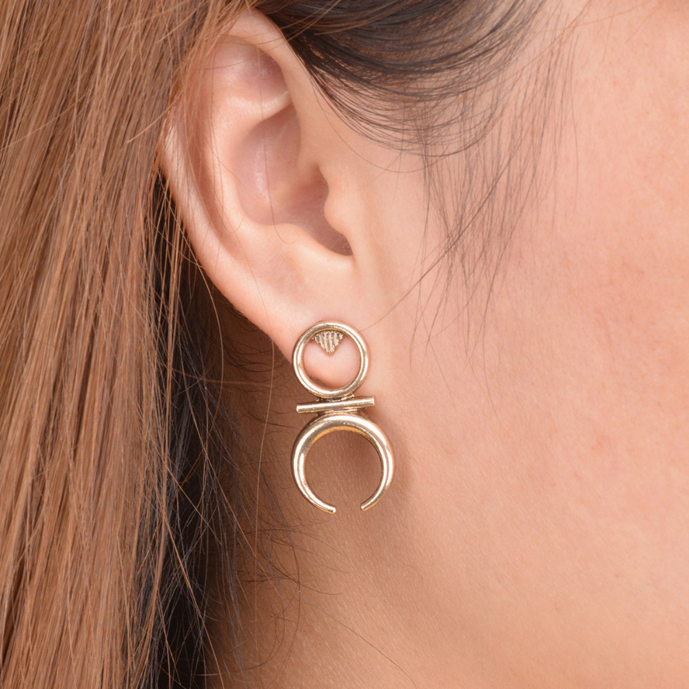New arrival womens ethnic vintage crescent moon earrings good new arrival womens ethnic vintage crescent moon earrings good luck symbol circle half moon stud earrings jewelry charm gift in stud earrings from jewelry buycottarizona