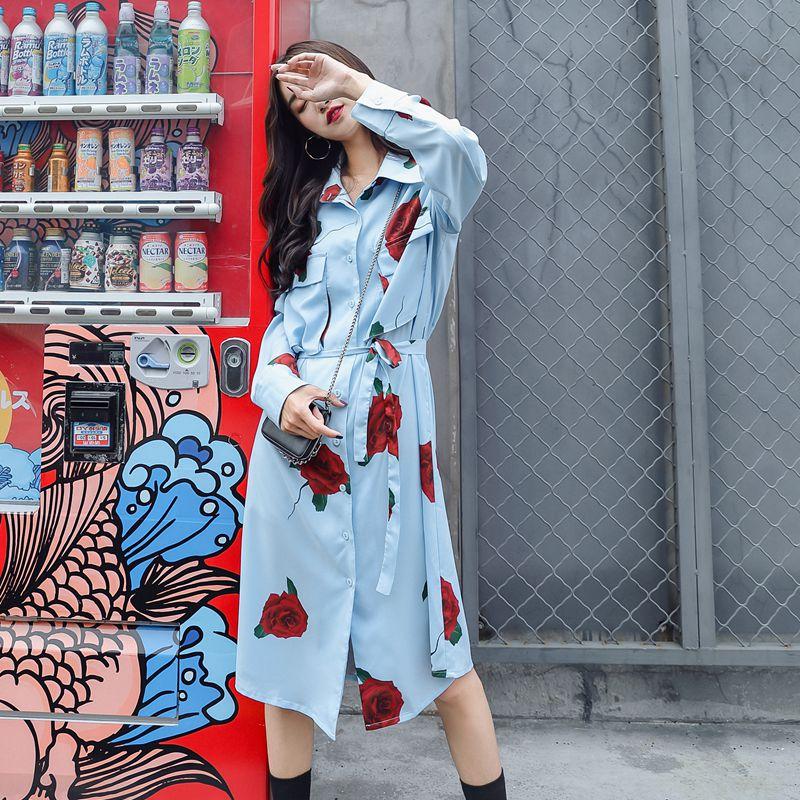 Летние розовые с принтом Винтаж большой карман шифон гладкой поверхностью платье с длинными рукавами Осень до середины икры отложной воротник платья