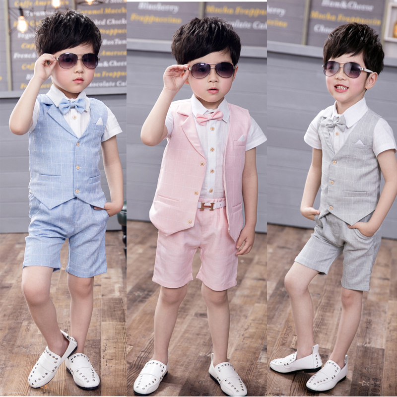 Summer Formal Suit Baby Boy Clothes Set for Weddings Piano Show Tuxedo Blazer White Shirts + Vest + Shorts 3PCS Summer prom Set 2017 new pattern small children s garment baby twinset summer motion leisure time digital vest shorts basketball suit
