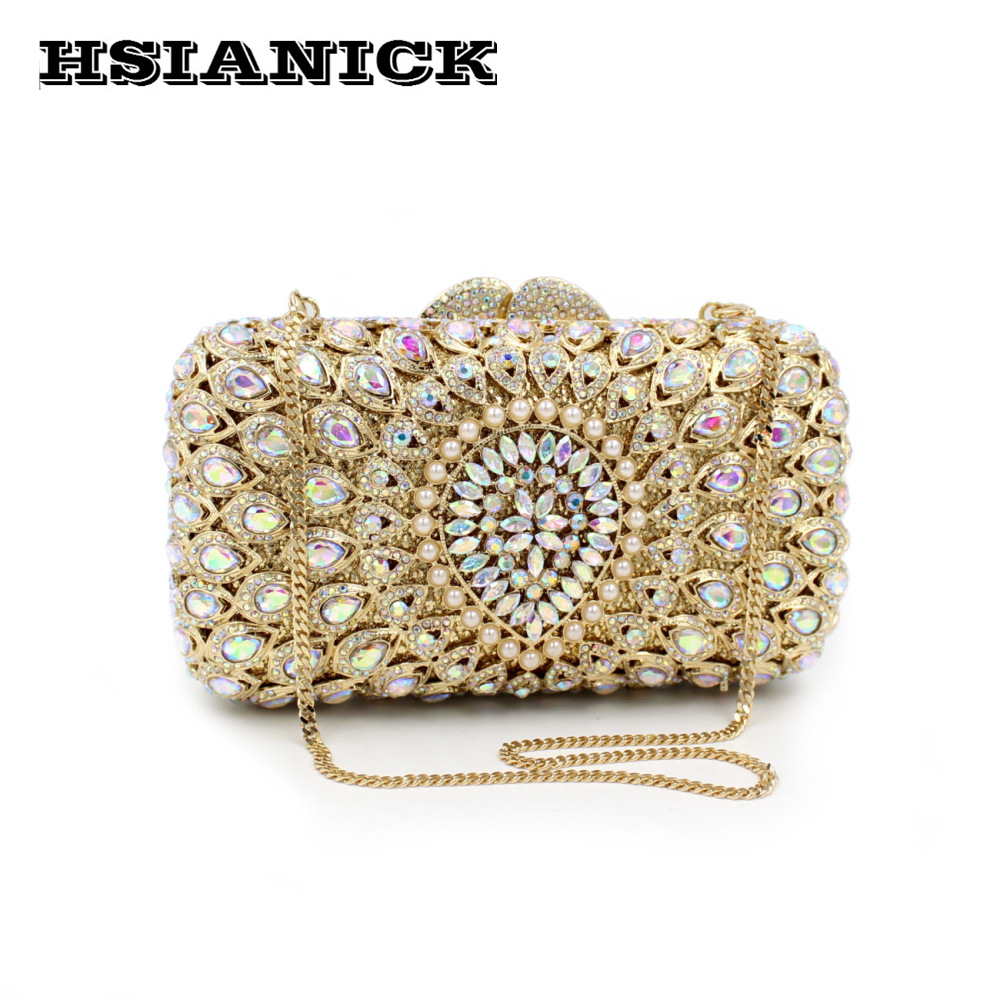 2017 Women Bags Hot Sale New Luxury Hollow Diamond Design Evening Bag Clutch Banquet Crystal Wedding Handbags Party Handbag 2017 lady hot sale black gold white silver clutch women elegant v diamond design wedding handbag female party bag evening bags