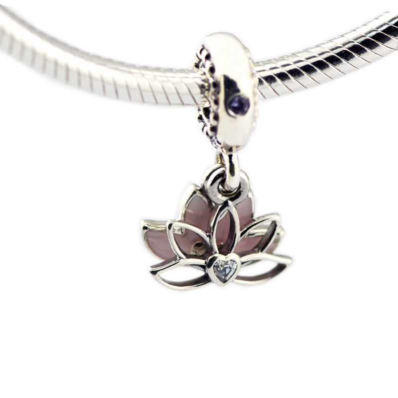 Pandulaso Serene Lotus Flower Hanging Charm 925 sterling silver Jewelry Fit Original European Bracelets For Woman DIY Beads