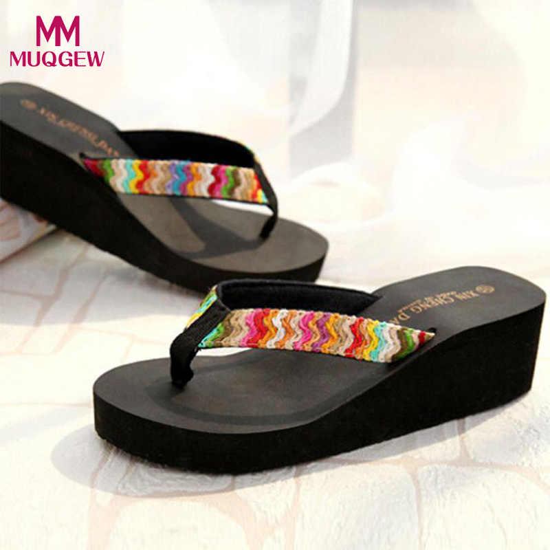 1c0506667 Luxury Shoes Women Summer Sexy Flip Flops Platform Sandals Beach Flat Wedge  Patch Flip Flops Lady