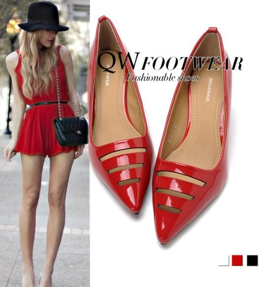 985211b0b28 2014 New Sexy Red Black White Shiny Patent Leather Cut Out Women s Kitten  Heels Pointed Toe Wedding Party Dress Pumps