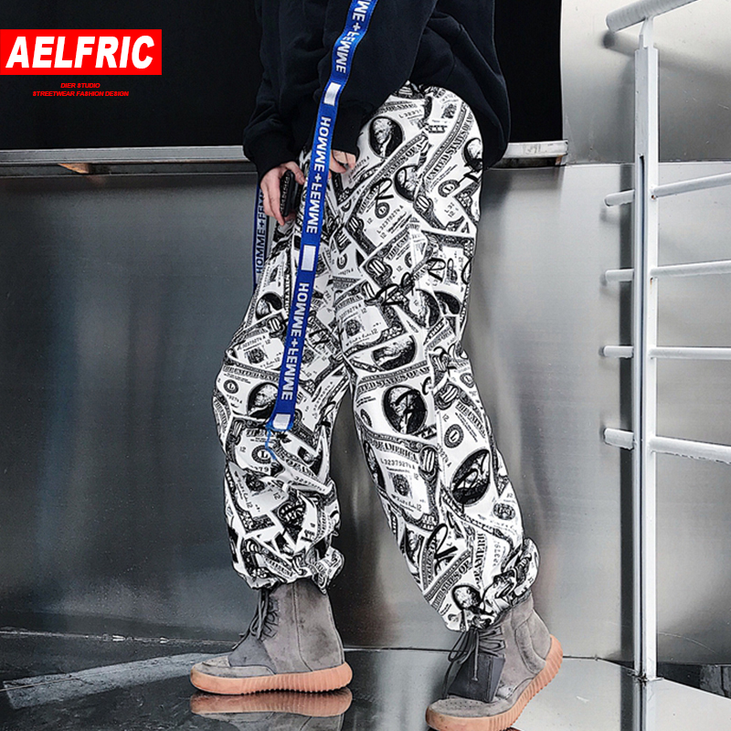 AELFRIC 2018 Summer Casual Track Pants Men 3d Print Dollar Hip Hop Fashion Jogger Harem Male Sweat Pants Streetwear S-XL GB17