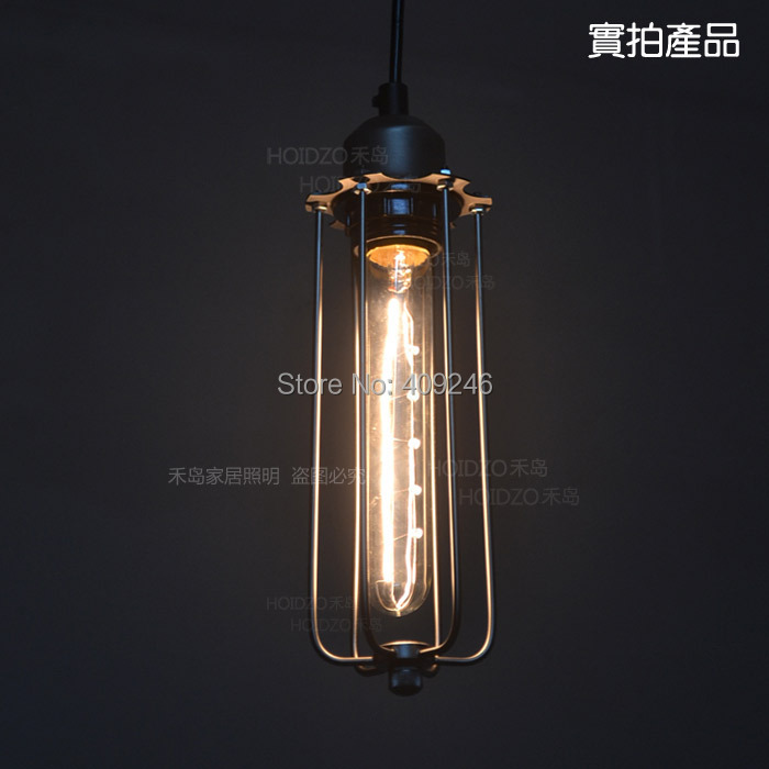 ФОТО Tube Retro Iron RH Loft RARE American Country Vintage style Industrial Edison Lamp ceiling Droplight with T185 Bulb
