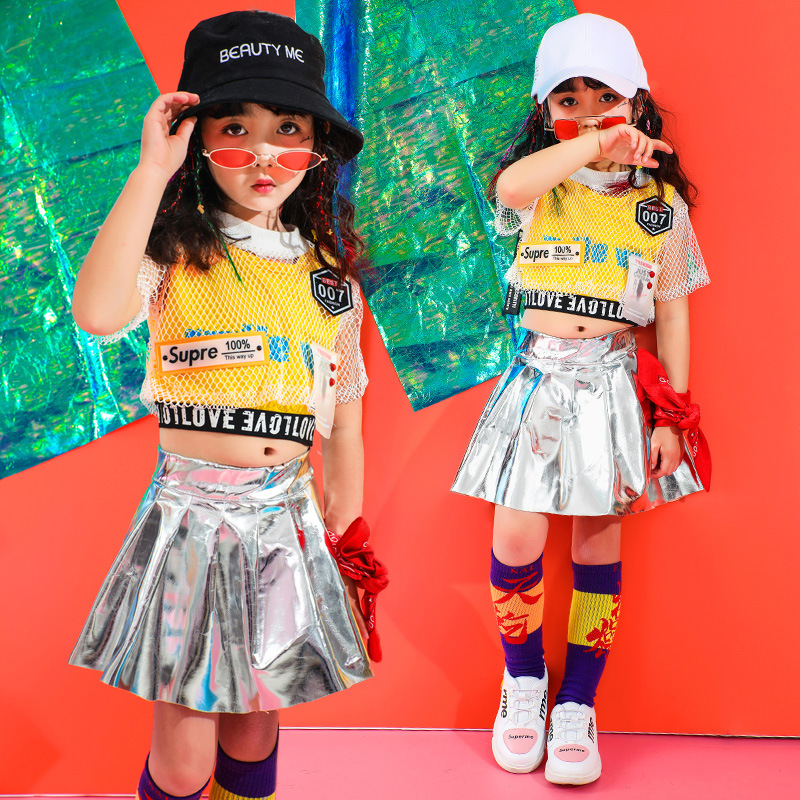 Summer Girls Hip Hop Dance Clothes For Kids Shirt Tops Jogger Silver Skirts Jazz Ballroom Dancing Costumes Clothing Stage Wear