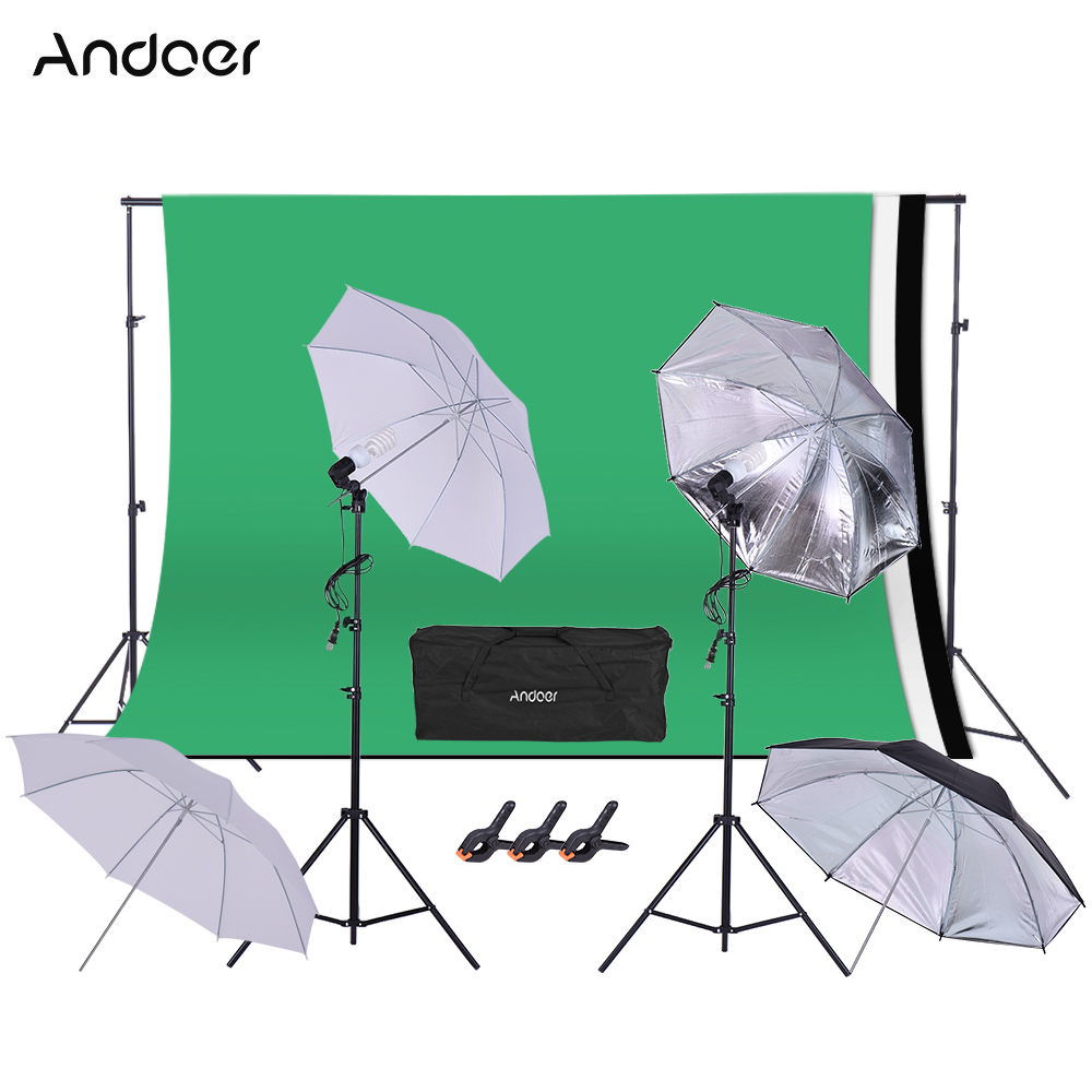 Andoer Photo Studio kits Backgrounds Lighting Swivel Socket Light Stands Umbrella Background Stand Clamp Photography Shooting