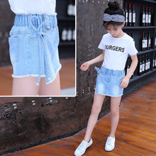 Korean Style Summer Girls Shorts High Waisted Denim Shorts Under Skirt With Shorts For Kids Pleated Skirt-Shorts High Quality knot front pleated striped tube top with shorts