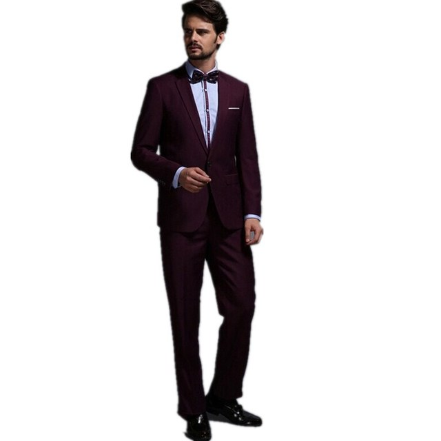 Men's suits wine red men's spring model wedding garment and groom small suit conference formal wear