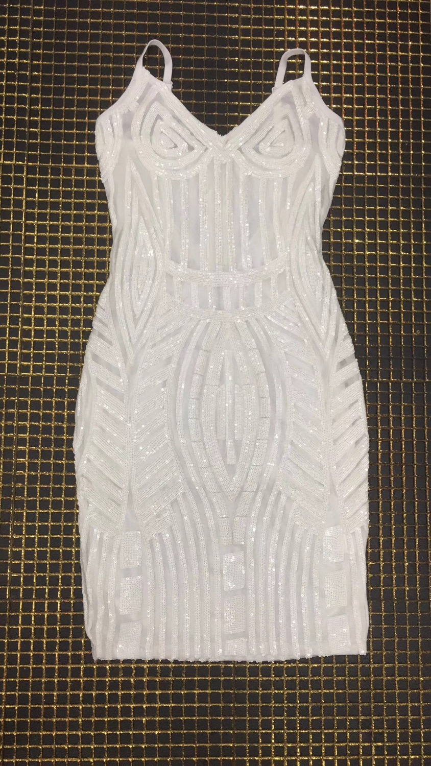 High Quality White Slip Hollow Out Fashion Dress Night Club Party Dress