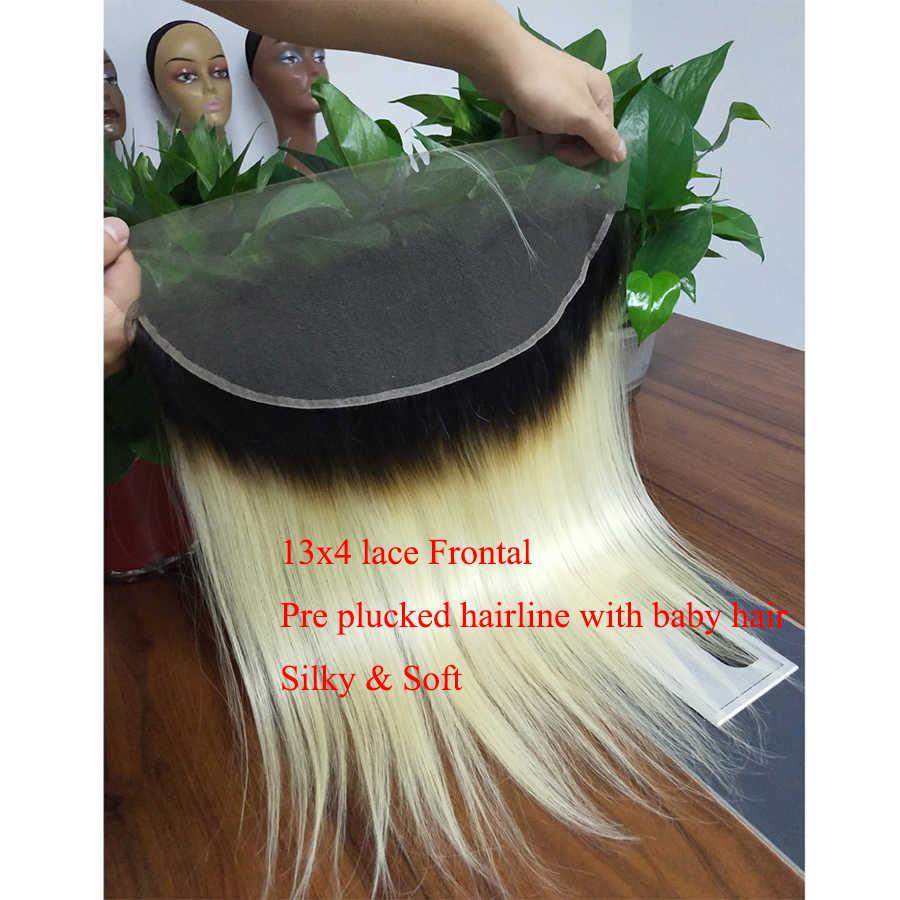 1B 613 demetleri ile Frontal sıcak yıldız brezilyalı düz Remy İnsan saç koyu kökleri bal sarışın demetleri Frontal kapatma ile