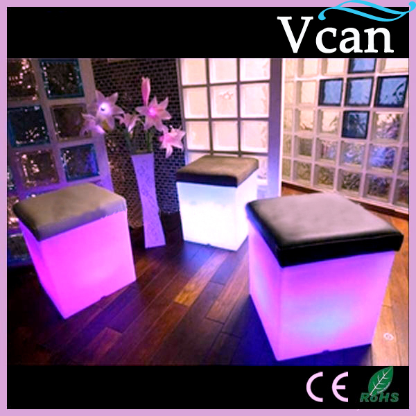 LED Light Bright RGB Colors Change Bar Stool With Cushion VC-A3838 to outdoor indoor of garden as seat jxy led cube chair 40cm 40cm 40cm colorful rgb light led cube chair jxy lc400 to outdoor or indoor as garden seat