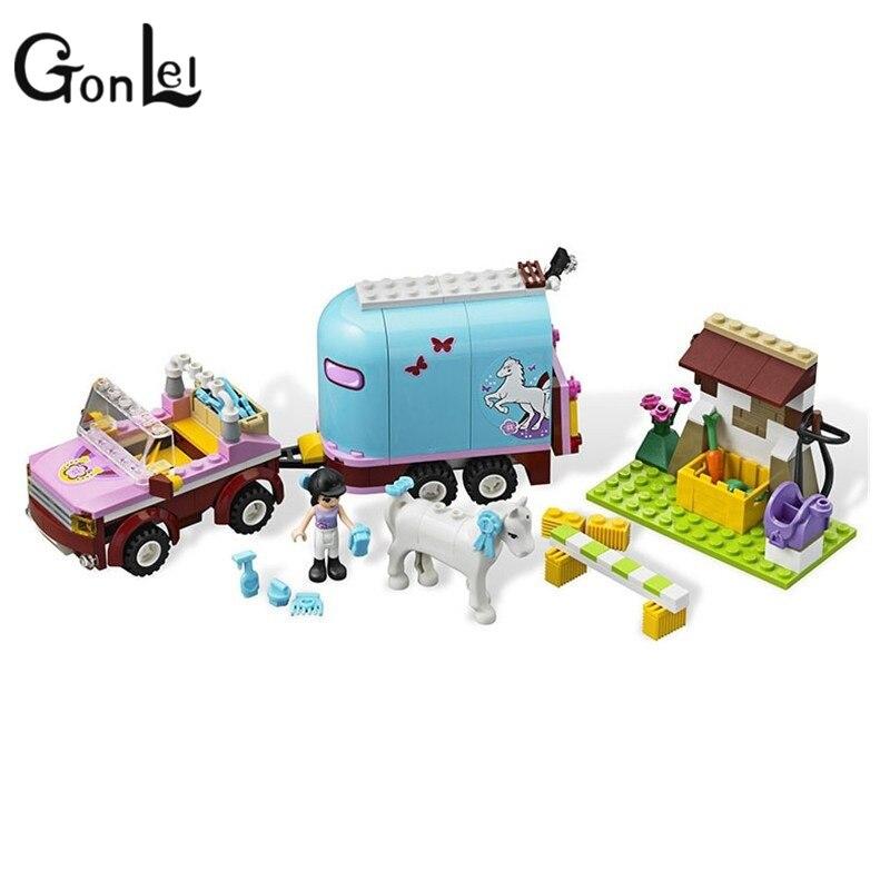 GonLeI Bale 10161 Building Blocks Friends 10161 Heartlake Emmas Horse Trailer Sets DIY Toy Compatible For Girl Kid Gifts